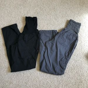 TWO pairs of maternity cargo pants or cropped